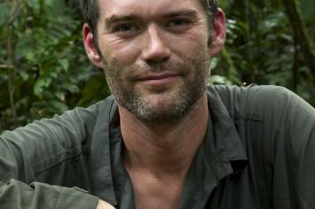 Charlie Hamilton James with climbing gear in rainforest4