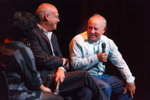 Nona Yehia, Mark Bittman and Yvon Chouinard. THE PEOPLE'S BANQUET. CENTER FOR THE ARTS. CREDIT: David J Swift