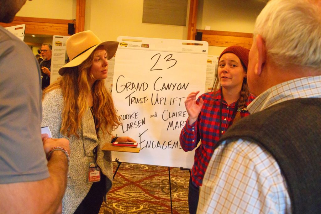(L-R) Claire Martini and Brooke Larsen of the Uplift Climate Conference present at the 2016 SHIFT Marketplace